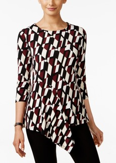 Alfani Petite Printed Asymmetrical Top, Only at Macy's