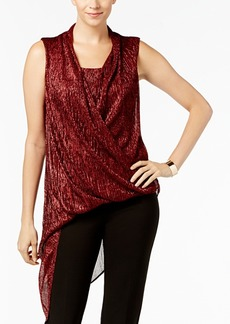Alfani Asymmetrical-Hem Faux-Wrap Tunic, Created for Macy's