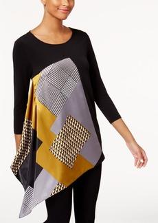 Alfani Petite Printed Asymmetrical-Hem Top, Created for Macy's