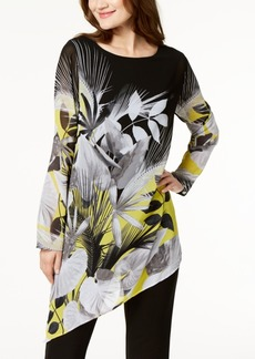 Alfani Petite Printed Asymmetrical Tunic, Created for Macy's