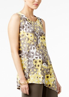 Alfani Petite Printed Asymmetrical Top, Created for Macy's
