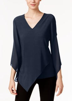Alfani Asymmetrical V-Neck Top, Only at Macy's