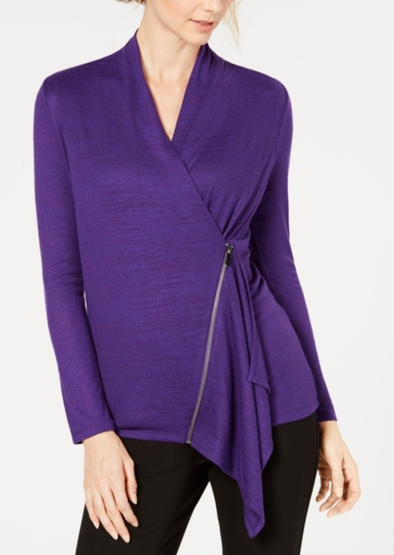 Alfani Asymmetrical Zip Top, Created for Macy's