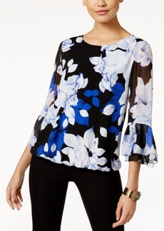 Alfani Ruffle-Sleeve Blouson Top, Only at Macy's