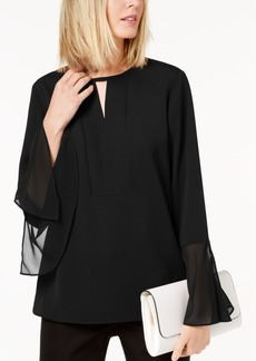 Alfani Bell-Sleeve Keyhole Blouse, Created for Macy's