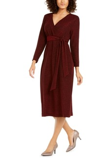 Alfani Belted Metallic Wrap Midi Dress, Created For Macy's