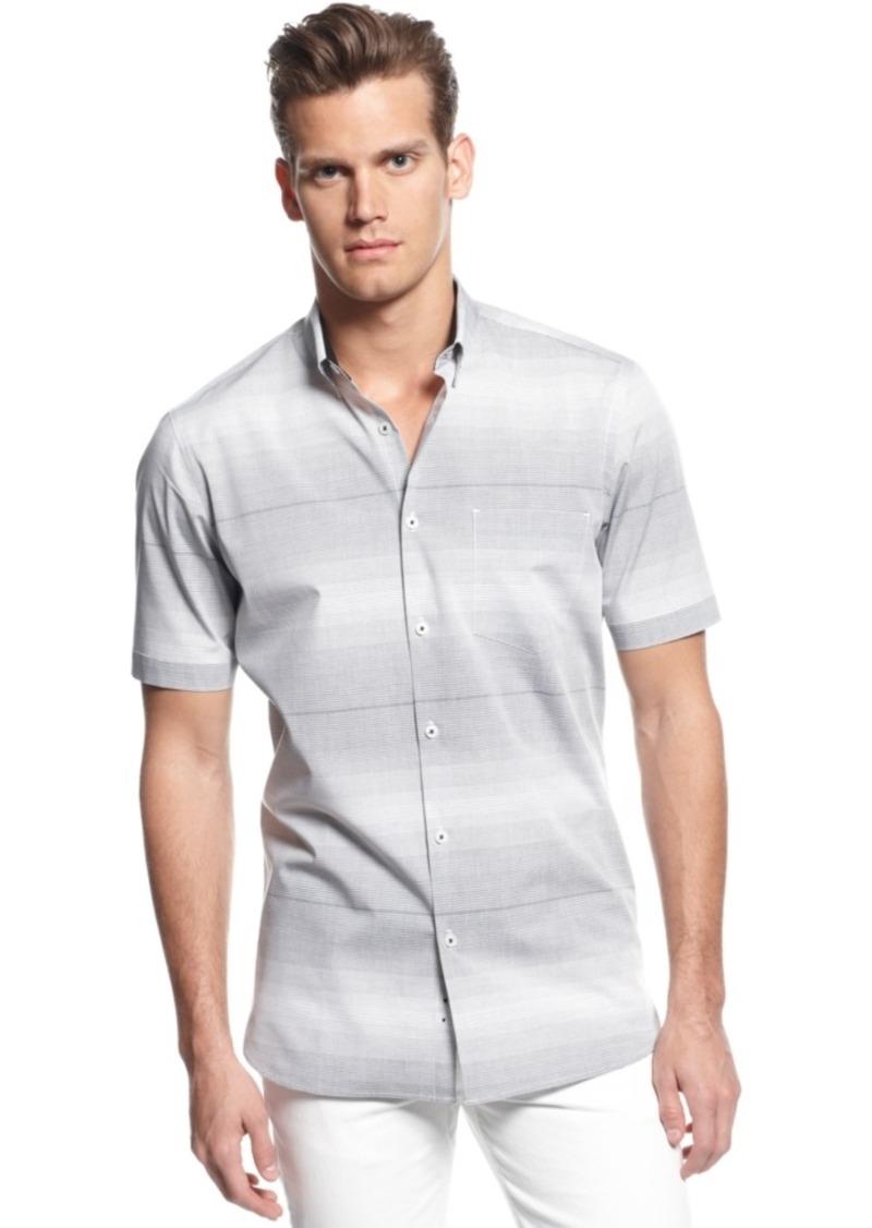Alfani Big & Tall Slim-Fit Short-Sleeve Striped Shirt