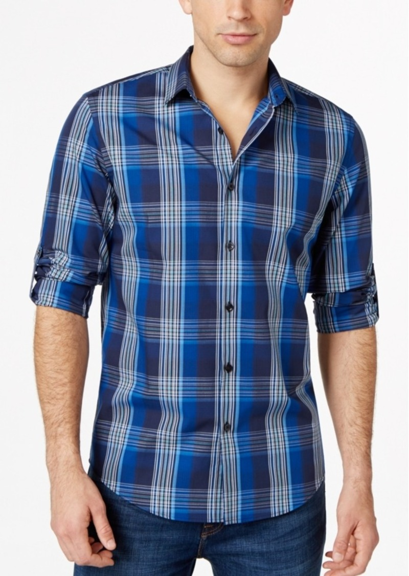 Alfani Big and Tall Medium Plaid Shirt, Only at Macy's