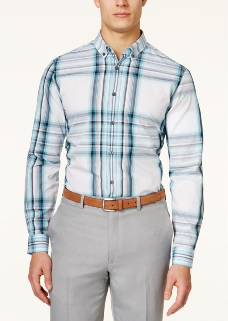 Alfani Big and Tall Meyrin Plaid Long-Sleeve Shirt, Only at Macy's