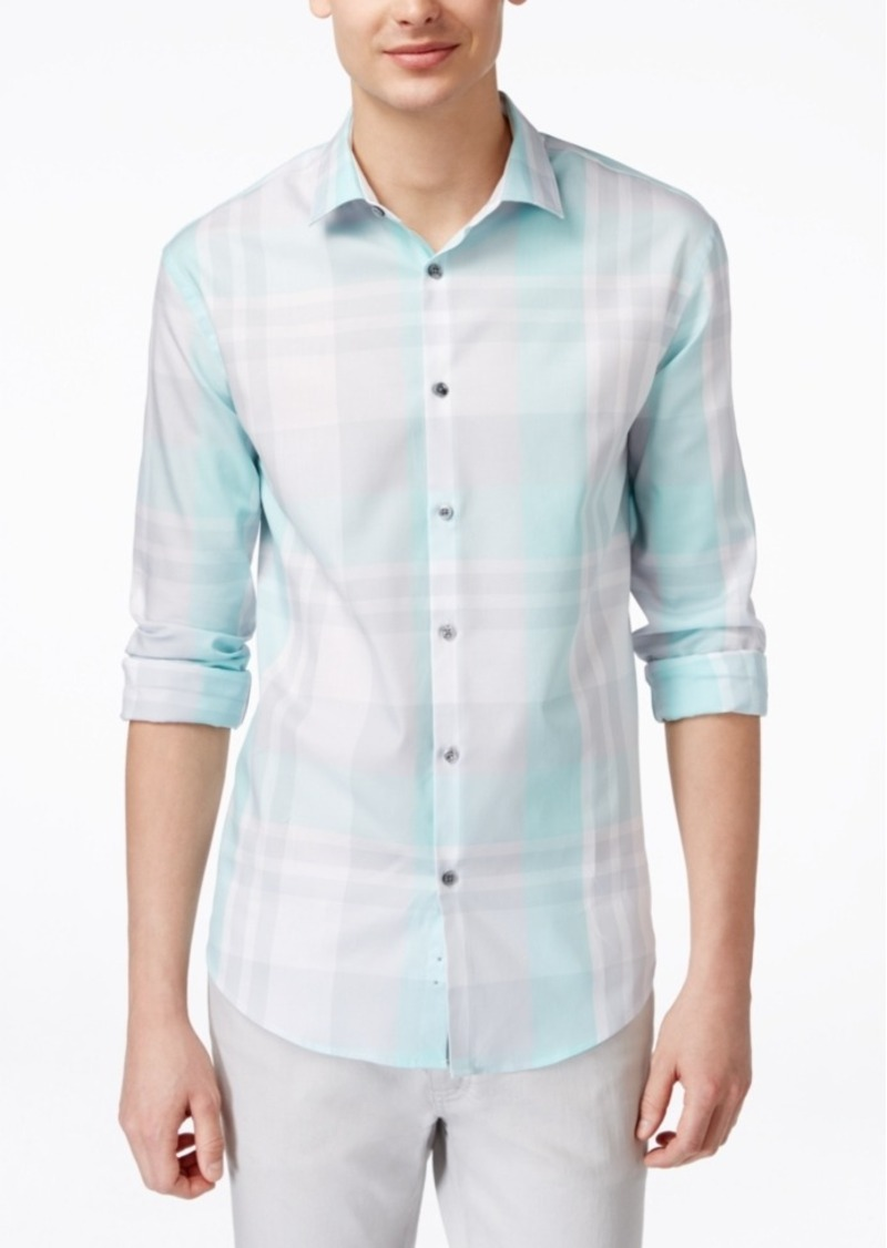Alfani Men's Plaid Long-Sleeve Shirt, Only at Macy's