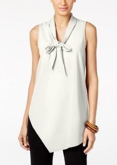 Alfani Bow-Tie Asymmetrical-Hem Top, Only at Macy's