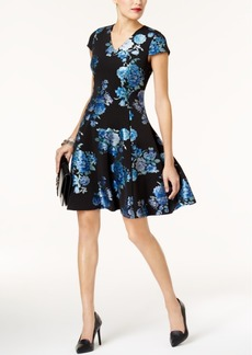 Alfani Brocade Printed Fit & Flare Dress, Created for Macy's