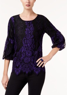 Alfani Petite Bubble-Sleeve Lace Top, Created for Macy's