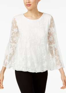 Alfani Petite Floral Burnout Bubble Top, Created for Macy's