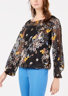 Alfani Burnout Mesh Jacquard Bubble Top, Created for Macy's