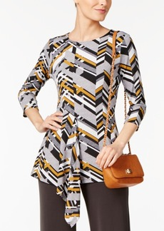 Alfani Petite Asymmetrical-Hem Printed Top, Created for Macy's