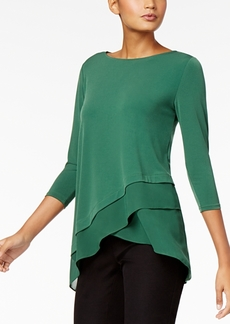 Alfani Chiffon Crossover-Hem Top, Created for Macy's