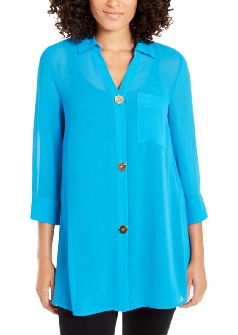 Alfani Petite Semi-Sheer 3/4-Sleeve Blouse, Created For Macy's