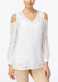 Alfani Cold-Shoulder Peasant Blouse, Only at Macy's