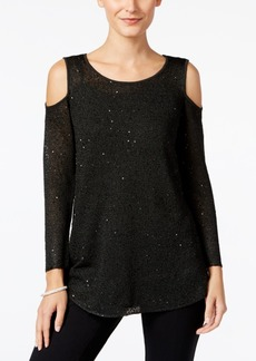 Alfani Cold-Shoulder Sequined Sweater, Only at Macy's