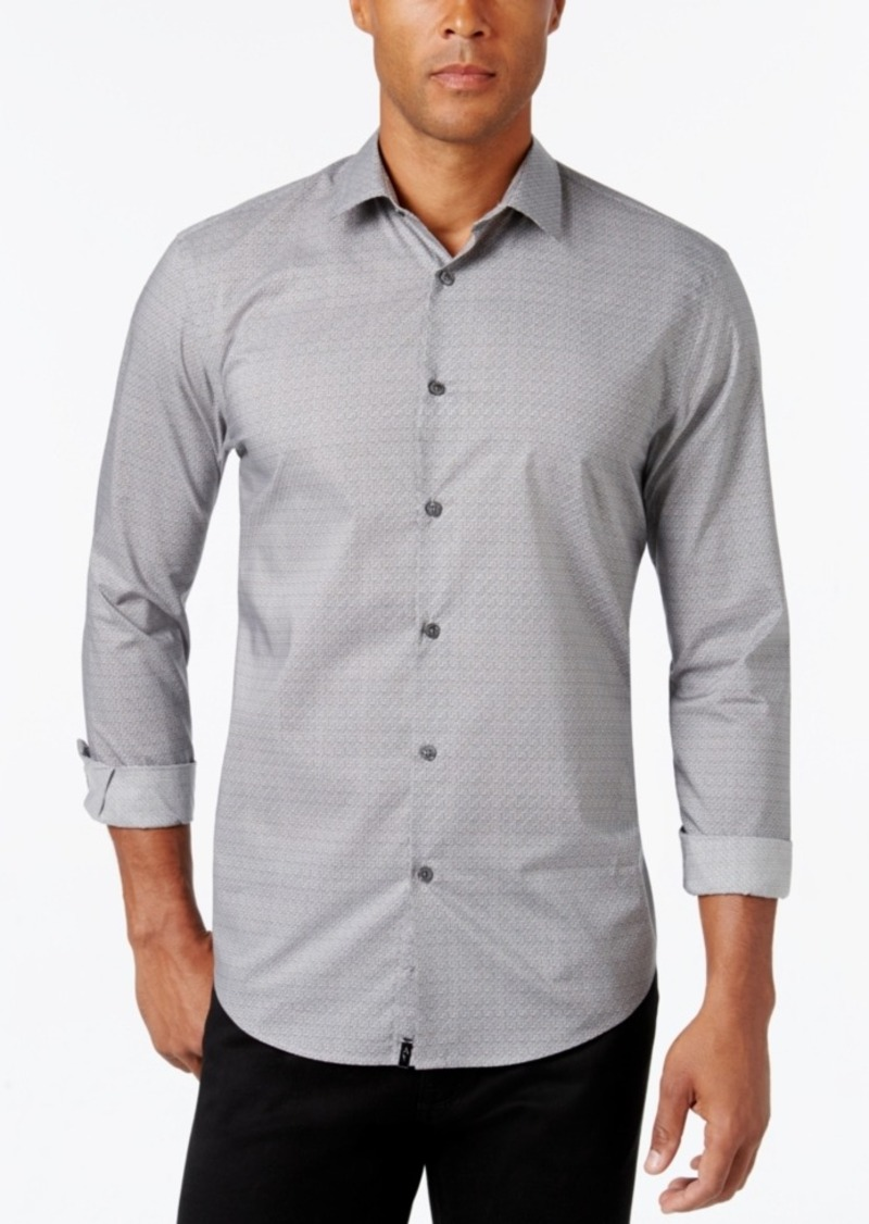 Alfani Collection Men's Textured Print Long-Sleeve Shirt, Classic Fit, Only at Macy's
