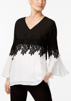 Alfani Petite Colorblocked Bell Sleeve Top with Lace Trim, Created for Macy's