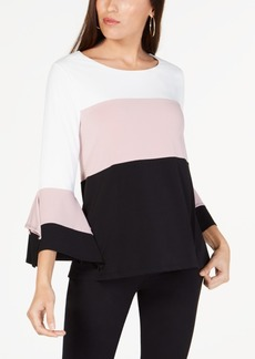 Alfani Colorblocked Square-Sleeve Top, Created for Macy's