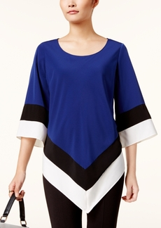 Alfani Colorblocked V-Hem Tunic, Created for Macy's