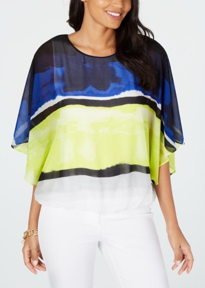 Alfani Colorblocked Wing-Sleeve Bubble-Hem Blouse, Created for Macy's