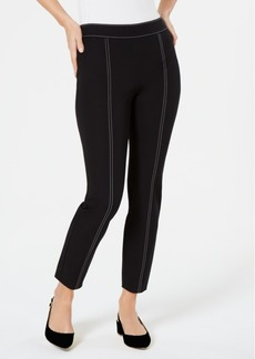 Alfani Petite Contrast-Stitch Skinny Pants, Created for Macy's