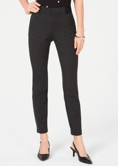 Alfani Petite Wide-Waistband Exposed Elastic Skinny Pants, Created for Macy's