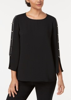 Alfani Crew-Neck Hardware-Embellished Top, Created for Macy's