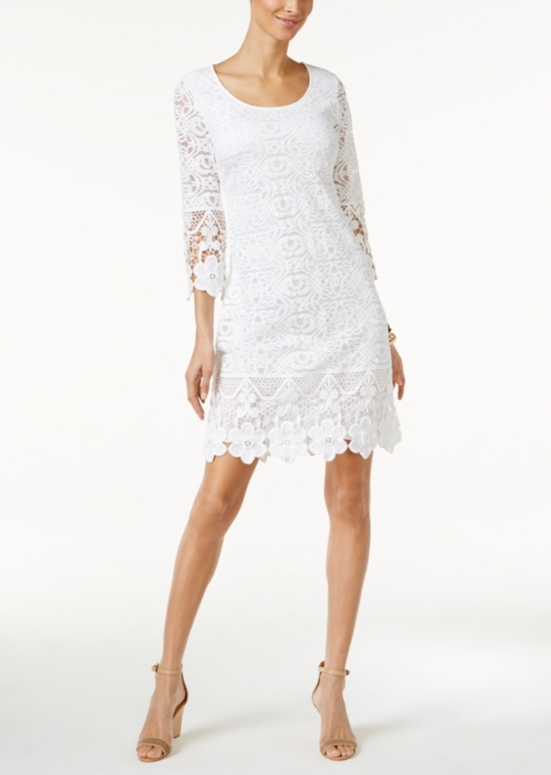 Alfani Crochet-Trim Illusion Dress, Only at Macy's