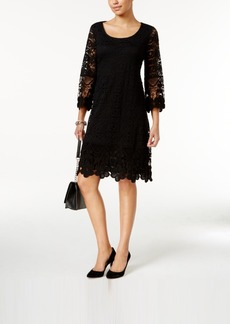 Alfani Crochet-Trim Illusion Dress, Only at Macy's