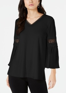 Alfani Crochet-Trim Pleated-Sleeve Top, Created for Macy's