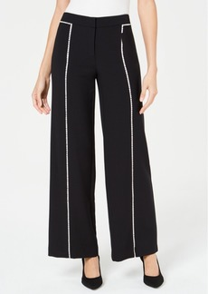 Alfani Crochet-Trim Wide-Leg Pants, Created for Macy's