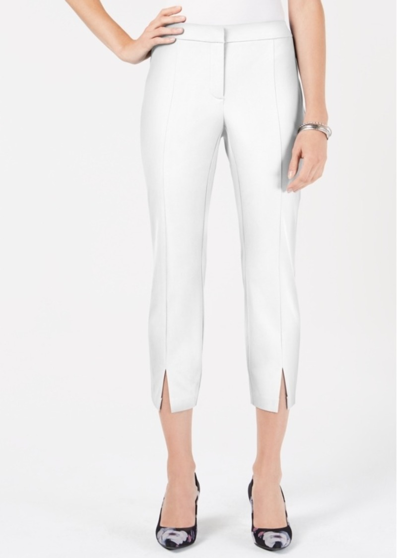 Alfani Cropped Vented Slim-Leg Pants, Created for Macy's