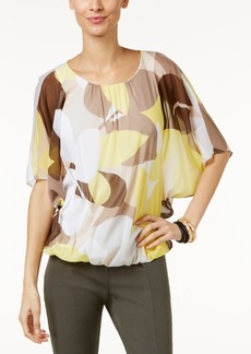 Alfani Petite Printed Mesh Blouson Top, Only at Macy's