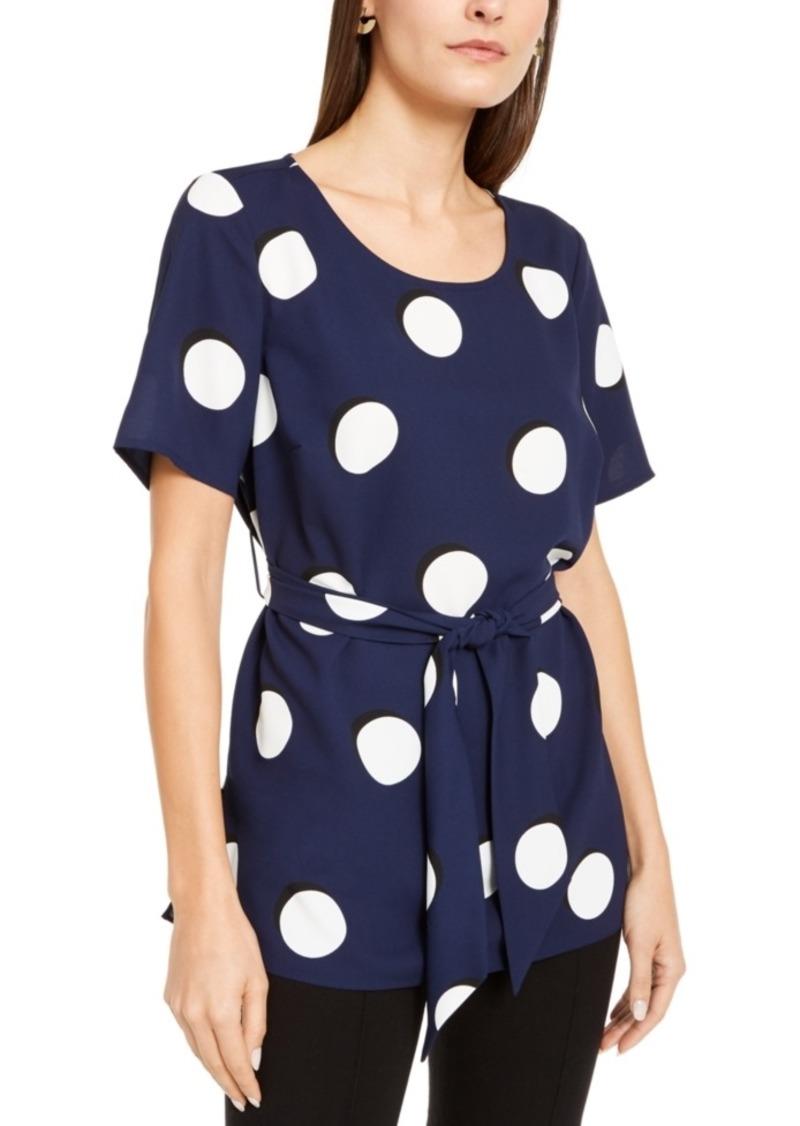 Alfani Dot-Print Tie-Waist Top, Created For Macy's