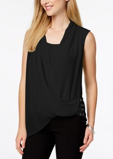 Alfani Draped Surplice Lace-Up Top, Created for Macy's