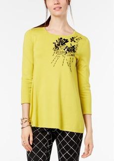 Alfani Embellished 3/4-Sleeve Sweater, Created for Macy's