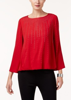 Alfani Embellished Bubble-Hem Blouse, Created for Macy's