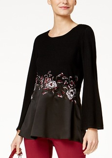 Alfani Embroidered Contrast Sweater, Created for Macy's