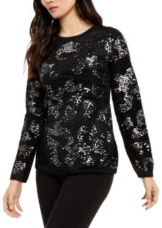 Alfani Embellished Eyelash Sweater, Created For Macy's