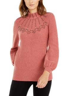 Alfani Embellished Mock-Neck Sweater, Created For Macy's