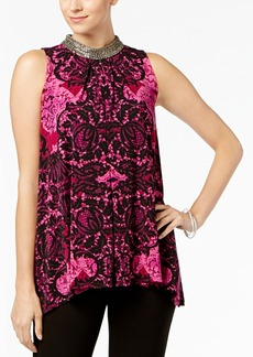 Alfani Petite Embellished Printed Top, Created for Macy's