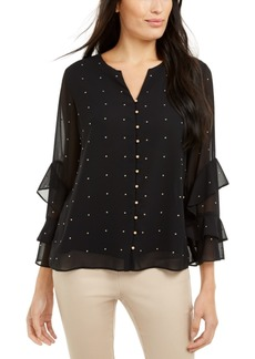 Alfani Embellished Ruffled-Sleeve Blouse, Created for Macy's