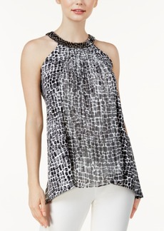 Alfani Petite Printed Embellished-Neck Top, Created for Macy's
