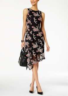 Alfani Embroidered Asymmetrical Fit & Flare Dress, Created for Macy's