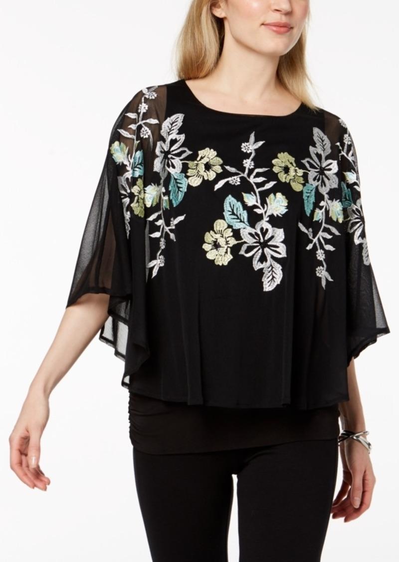 4c51685b6ad76 Alfani Alfani Petite Embroidered Cape-Sleeve Top